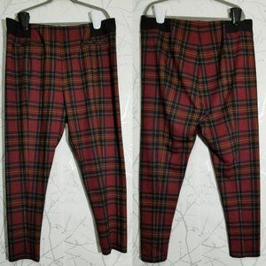 MODCLOTH Red Plaid Checks Print High Rise Leggings